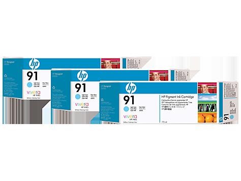 HP C9486A (91) ACIK CAMGOBEGI 3 LU PAKET 775 ML GENIS FORMAT MUREKKEP KARTUSU