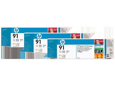 HP C9482A (91) ACIK GRI 3 LU PAKET 775 ML GENIS FORMAT MUREKKEP KARTUSU